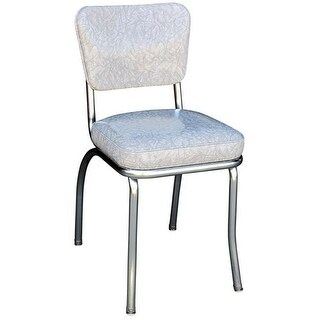 4210 Diner Chair -Cracked Ice Grey- with 2 in. Box Seat - Chrome