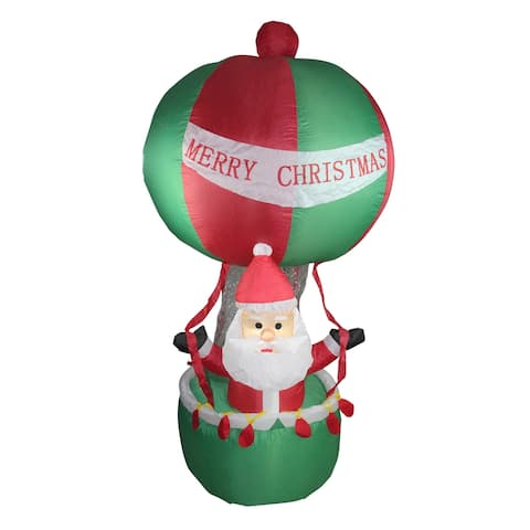 """72"""" Red and Green Inflatable Santa in Hot Air Balloon Lighted Christmas Outdoor Decor"""