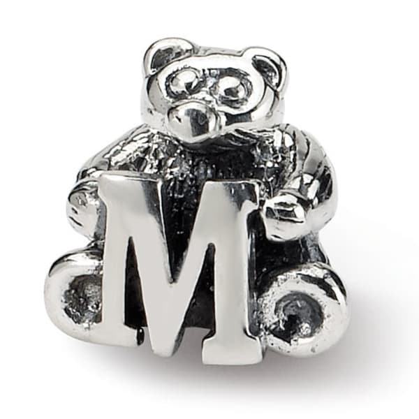 Sterling Silver Reflections Kids Letter M Bead (3.5mm Diameter Hole)