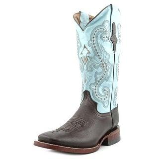 Ferrini Cowhide Women Round Toe Leather Blue Western Boot