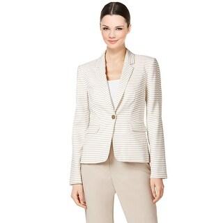 Calvin Klein Petite Striped Single Button Blazer Jacket - 14P