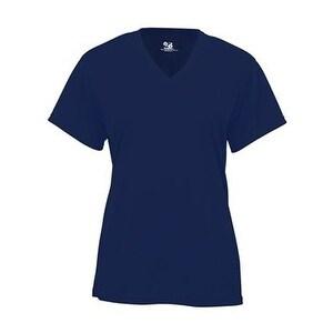 Badger B-Core Girl's V-Neck T-Shirt - Navy - XL