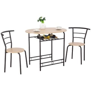Costway 3 PCS Dining Set Table and 2 Chairs Home Kitchen Breakfast Bistro Pub Furniture  sc 1 st  Overstock.com : breakfast set table and chairs - pezcame.com