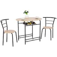 Costway 3 PCS Dining Set Table and 2 Chairs Home Kitchen Breakfast Bistro Pub Furniture