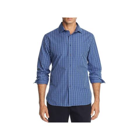 The Men's Store Mens Dress Shirt Check Print Collared - Blue - S