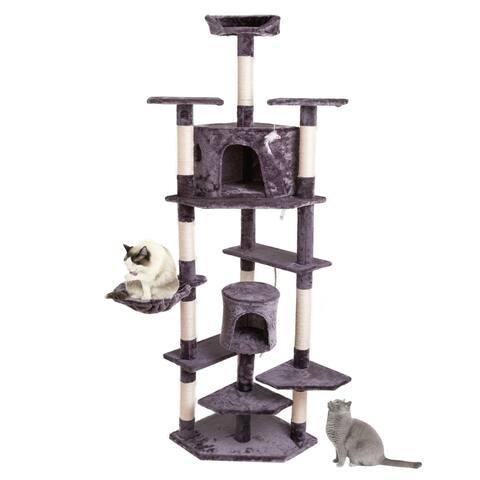 """80"""" Solid Cute Sisal Rope Plush Cat Climb Tree Cat Tower Gray"""