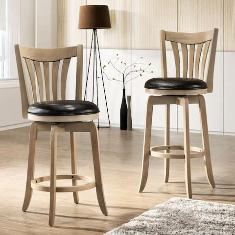 Furniture of America Fill Transitional Faux Leather Swivel Barstool