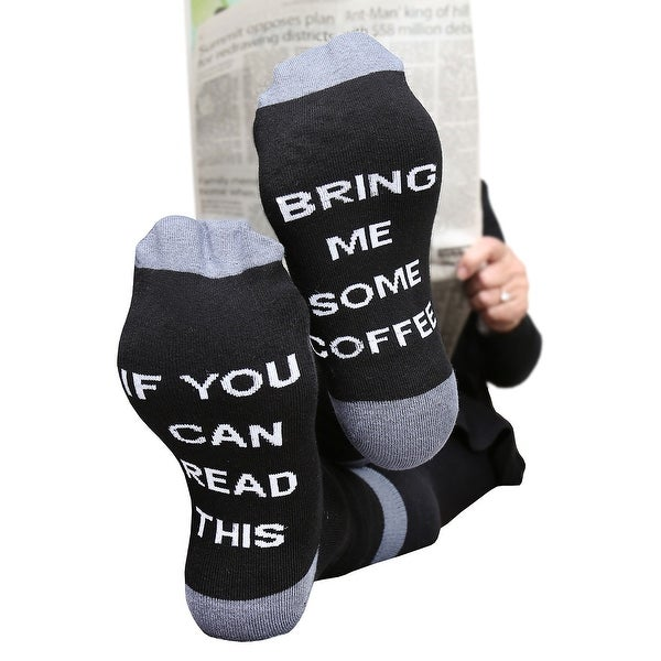 Women's Funny Hidden Message Socks - If You can Read This - Bring Me Some Coffee - Medium
