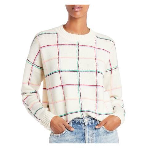 AQUA Womens Ivory Plaid Long Sleeve Crew Neck Sweater Size S
