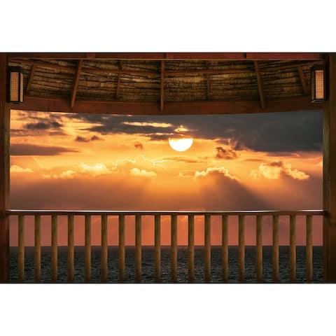 "Brewster WG5179-4P-1 Ocean View Terrace at Sunset 100"" x 144-3/4"" - Orange"