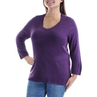 KAREN SCOTT $40 Womens New 2367 Purple 3/4 Sleeve V Neck Casual Sweater S B+B