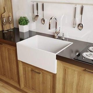 "Miseno MNO2620FC Modena 26"" Single Basin Farmhouse Fireclay Kitchen Sink - White"