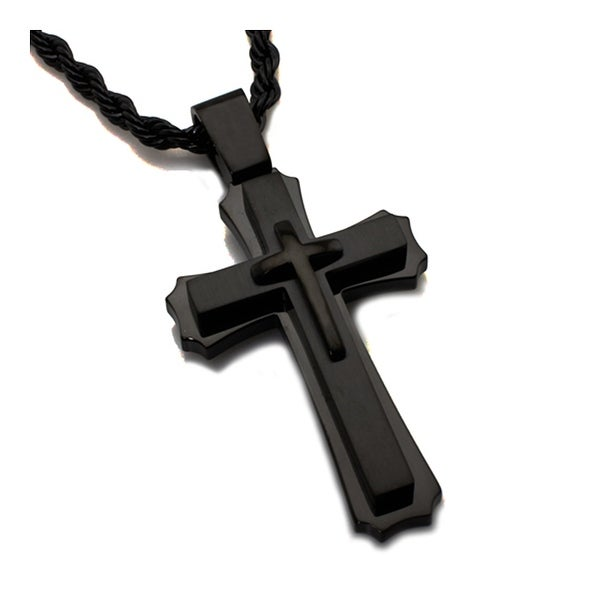 Stainless Steel Men's Cross Pendant - 24 inches