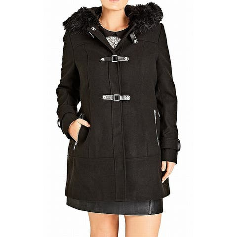City Chic Womens Coat Black Size Small S Double Breasted Faux Fur Hood