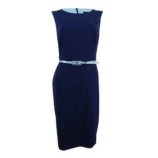 Connected Women's Petite Belted Sheath Dress - Navy/Aqua