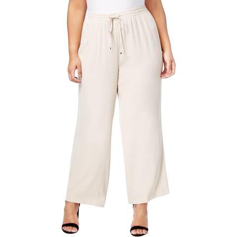 Calvin Klein Womens Plus Wide Leg Pants Flat Front Drawstring