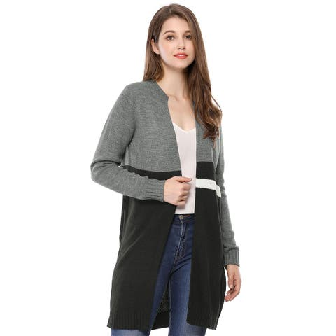Women's Striped Front Pockets Open Front Sweater Cardigan - Grey