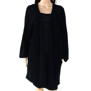 Alfani NEW Solid Black Womens Size XL Open-Front Cardigan Wool Sweater