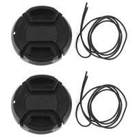 Unique Bargains 2 Pcs 40.5mm Center Pinch Lens Cap Cover w Strap Leash for DLSR Digital Cameras