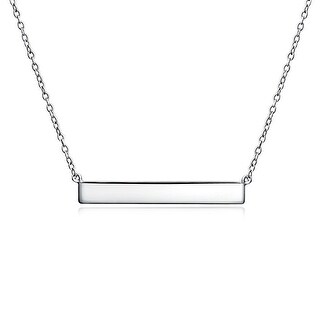 Bling Jewelry .925 Sterling Silver Thin Modern Shiny Bar Layering Necklace 16 Inches