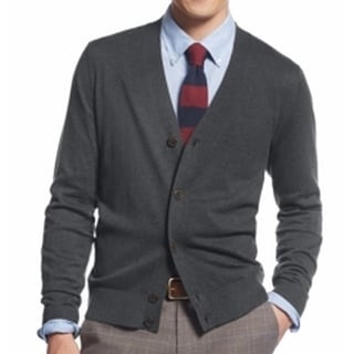 Tommy Hilfiger NEW Charcoal Gray Mens Size Small S Knit Cardigan Sweater