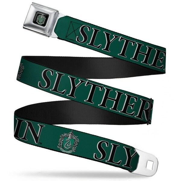 Slytherin Crest Full Color Harry Potter Slytherin & Crest Green Black Seatbelt Belt
