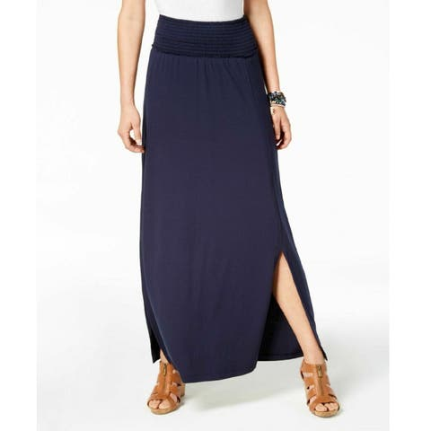 Style & Co Women's Smocked Comfort Waist Maxi Skirt Industrial Blue Size Small