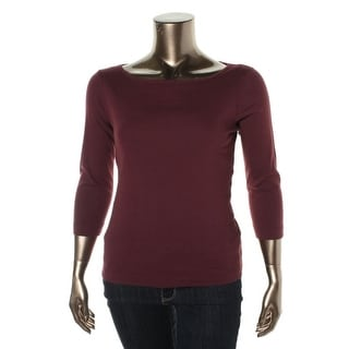 Three Dots Womens British Knit Top 3/4 Sleeves Boatneck