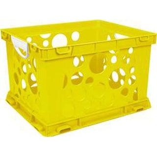 "Yellow - Premium Classroom File Crate W/Handles 17.25""X14.25""X10.5"""