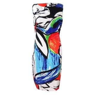 Ellen Tracy Women's Abstract Printed Shift Dress - White Multi - 4