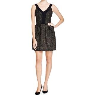 Aqua Womens Juniors Clubwear Dress Glitter Double-V