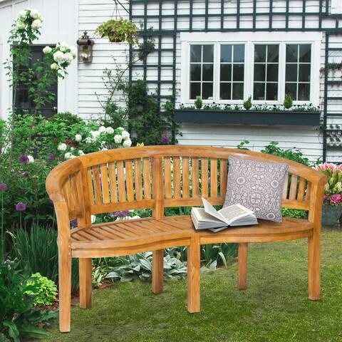 Chic Teak Peanut Teak Wood Triple Outdoor Patio & Garden Bench, Commercial Grade