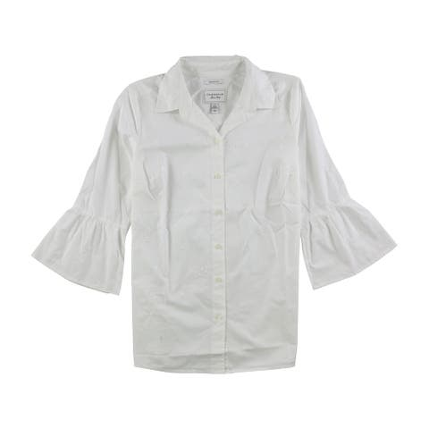 Charter Club Womens Embroidered Button Up Shirt, white, 4