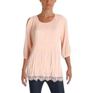 NY Collection Womens Casual Top Pleated Cold Shoulder