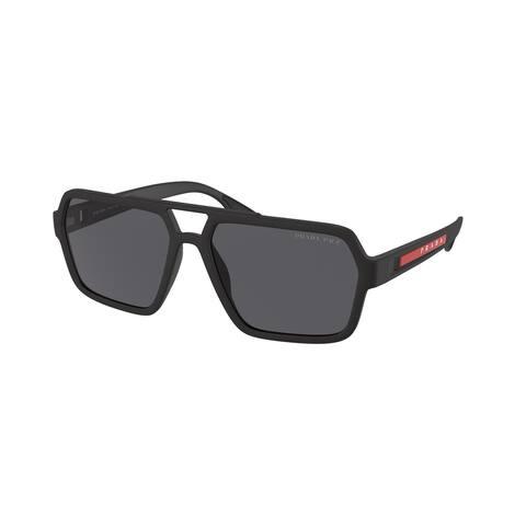 Prada Linea Rossa PS 01XS DG002G 59 Black Rubber Man Rectangle Sunglasses