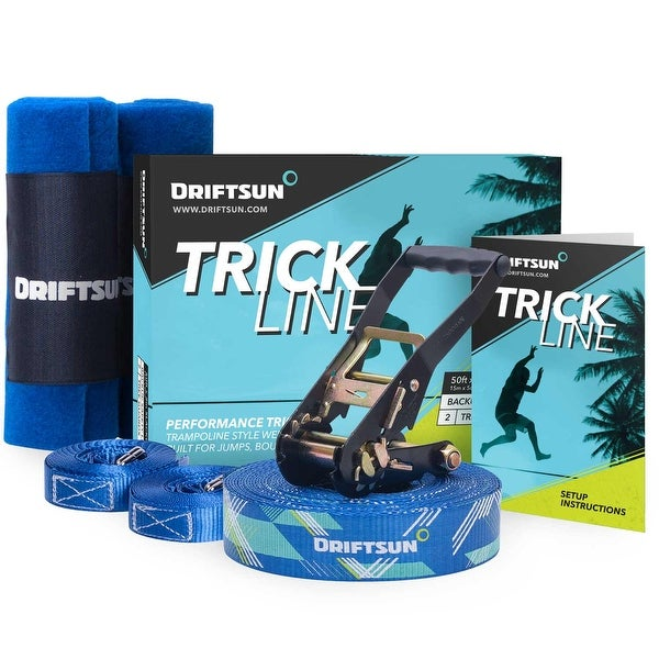 Driftsun Slackline Trick Line Complete Kit - 50FT Slacklining Trickline with Back-Up Line and Tree Guards - Blue