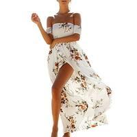 Women's Floral Off The Shoulder Split Chiffon Party Beach Maxi Dress