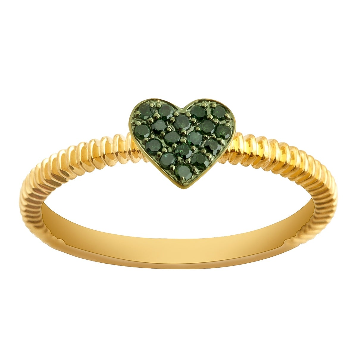Prism Jewel Round Green Diamond Heart Shaped Valentine Ring - Thumbnail 0