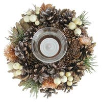 """7.25"""" Copper Foliage, Pine Cone and Berry Artificial Christmas Candle Holder - Brown"""