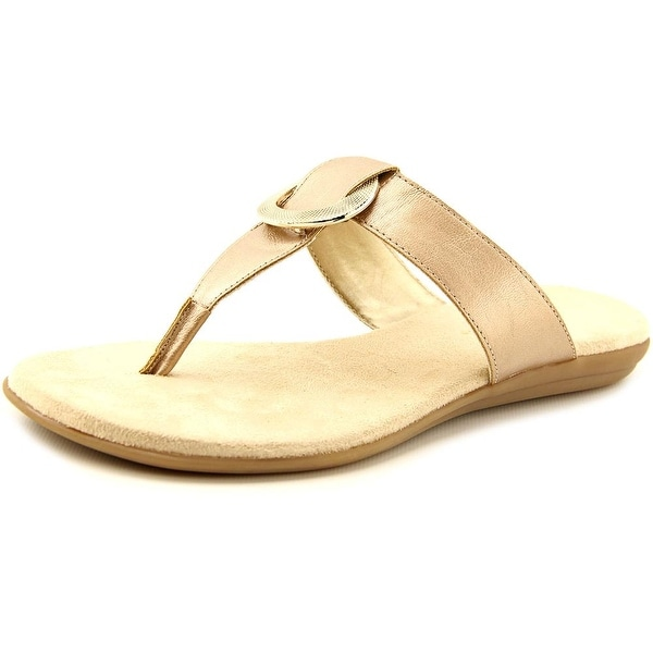 Aerosoles Supper Chlub Women Open Toe Synthetic Gold Thong Sandal