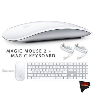 Apple Magic Mouse 2 MLA02LL/A + Apple Magic Wireless Keyboard with Numeric Keypad MQ052LL/A + MicroFiber Cloth Bundle