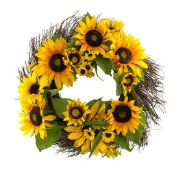 "22"" Decorative Yellow Silk Sunflower and Twig Artificial Spring Floral Wreath"