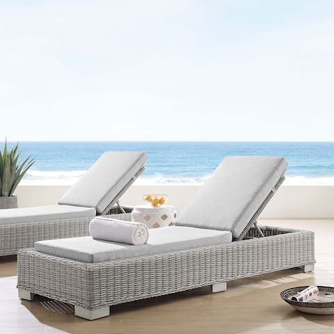 Conway Sunbrella Outdoor Patio Wicker Rattan Chaise Lounge