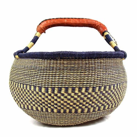 Handmade Extra Large Market Basket, Mixed Colors or Natural Grass