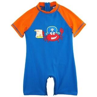 Sweet & Soft Toddler Boy Swimwear Pirate Crabby Print Rashguard Sunsuit Swimsuit