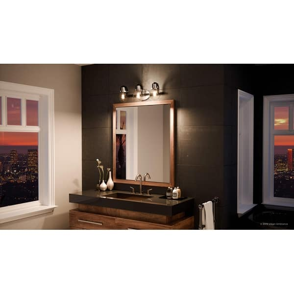 Shop Luxury Industrial Bathroom Vanity Light 7 75 H X 24 W With Vintage Style Natural Black And Chrome Finish By Urban Ambiance On Sale Overstock 27194594