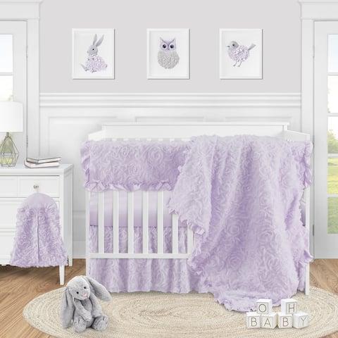 Purple Floral Rose Girl 5pc Nursery Crib Bedding Set - Solid Lavender Flower Luxurious Elegant Princess Vintage Boho Shabby Chic