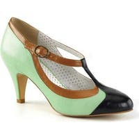 Pin Up Couture Women's Peach 03 T-Strap Mint Multi Faux Leather