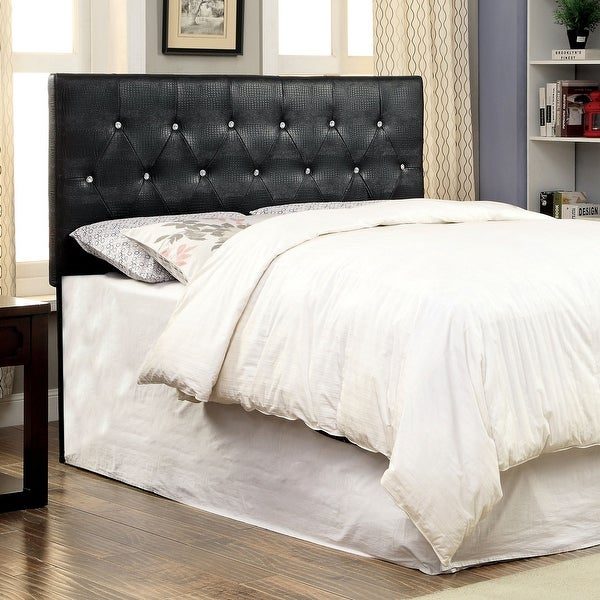 Furniture of America Huntress I Crocodile Faux Leather Button-tufted Headboard. Opens flyout.