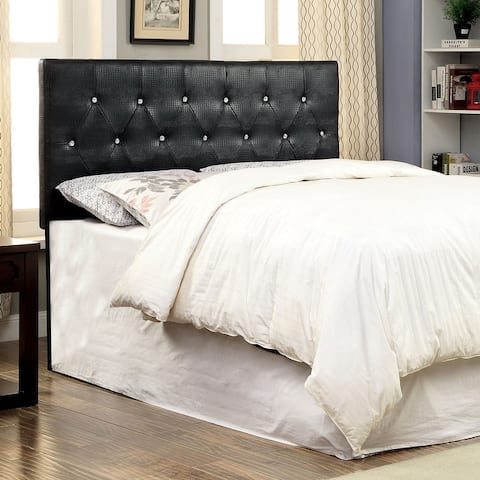 Furniture of America Huntress I Crocodile Faux Leather Button Tufted Headboard